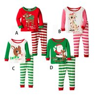 Wholesale Boy Girl Christmas Elk Stripe Pajamas Sets New Children Cotton Cartoon Stripe Long Sleeve Pants Suits Baby Clothes XL TS16