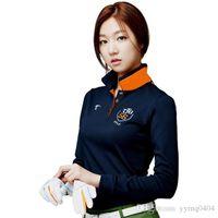 Wholesale 2016 New Korean Silk Ladies Golf Wear Fashions Shirt Women Long Sleeve Golf Polo Shirt Outdoor Sports Golf T Shirts blue size S XXL