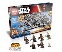 Wholesale 1381pcs Star Wars Millennium Falcon Figure Toys building blocks marvel minifigures Kids Toy Compatible with legeod