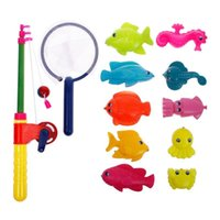 baby games net - New Magnetic Fishing Toy Rod Model Net Fish Kid Children Baby Bath Time Fun Game
