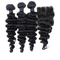 4PCS / LOT 7A grado no procesados profunda de la onda brasileña virginal del pelo Paquetes con cierre de cordones profundamente rizado 4x4 nudos blanqueados Natrual Negro