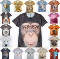 animal face tees - 3D Animals Print T Shirts For Men Big Face Tees Short Sleeve Slim Fit Polo Tiger Cat Dog Wolf Polyester HHA962