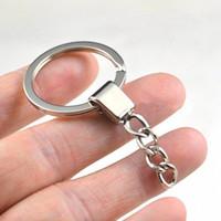 achat en gros de porte-keyring métallique-Vente en gros Porte-clés plus fort avec des chaînes Porte-clefs 30mm divisé porte-clés Anneaux de métal Mode pièces de bricolage