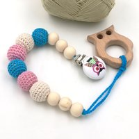 baby pendent - Newcoming discount Blue pink owl pacifier clip crochet dummy holder beech wood pendent baby teething teether NT138
