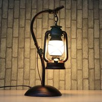 Wholesale Reminisced lamp vintage antique lamps iron kerosene lamp lantern led E27 table lamp