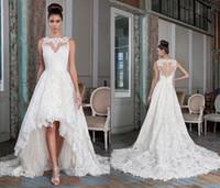 alexander pink - charming high low wedding dresses sheer bateau Justin alexander vestido de noiva lace buttons heart shaped back bridal gowns