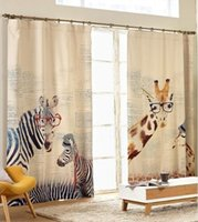 animal print window curtains - The finished curtain cartoon animal print fabric curtain high quality living room bedroom curtains