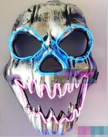 Wholesale New Skull EL masks Halloween Funny EL wire Vendetta Fashion V Cosplay Costume Guy Fawkes Anonymous party masks