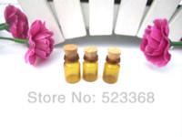 Wholesale 10 pz ml Bottiglia di Vetro Marrone Piccolo Mini Tappi di Sughero Vuoto Olio Vial Wishing