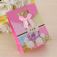 Wholesale 2016 High Quality Cartoon Bear Printing Paper Gift Bags Candy Candy Cookie Food Packaging Bags Valentine s Day Gift Bags