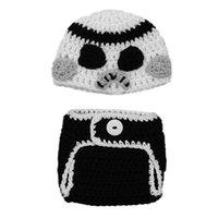 baby star diapers - Newborn Knit Stormtrooper Costume Handmade Crochet Baby Boy Girl Star Wars Hat Diaper Cover Set Infant Gifts Halloween Costume Photo Props
