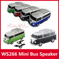 audio toy - Bus Car Shape Speaker WS Mini Portable Car Speakers Subwoofers Deep Bass Support TF Card USB MP3 Player ws266 Christmas Toy Speakers