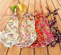 Wholesale New baby Flower Romper printed floral ruffled backless Romper girl rompers infant sleeveless girls clothes baby s JumpSuit jumper