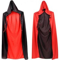 Wholesale Halloween Costume Devils Party Dress Red and Black Collar Double Vampire Cape God of Death Cloak Adult Children Designs Drop Shipping FS0673
