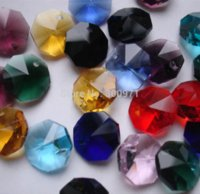 Wholesale NEW ARRIVAL colors mixed mm crystal chandelier glass octagon beads in one hole FREESHIPPING