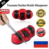 Wholesale Two Stages Knife Sharpener Vacuum Sucker Anti slip Ceramics Abrasive Wheel Sharpening Stone Kitchen Knives Tool lt no tracking
