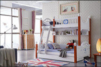 Wholesale Youth kids teenage Children Soild Oak Wood Natural Color Solid Oak Wood Kids Bunk Beds White Bedroom Furniture