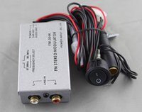 Wholesale Car FM MODULATOR STEREO RADIO RCA AUX INPUT ADAPTER WIRED MM RCA TRANSMITTER