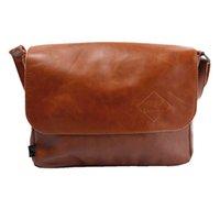 Wholesale Men Messenger PU Leather Fashion Vintage Shoulder Black Khaki Bags For Pad Phone Vintage Leather Bag Men Crossbody