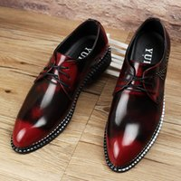 Wholesale Brand Genuine Leather Oxford Shoes For Men Casual Men Oxford Shoes Gold red Men Dress Shoes Pointed Toe Men Wedding Shoes z20