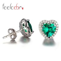 alphabet designer - Heart ct Russian Nano Emerald Earrings Stud Women Romance Designer Lover Gift Genuine Sterling Silver Jewelry New Hot