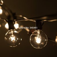 Wholesale 50Ft Globe String Lights G50 Clear Globe Bulbs V Black Wire UL Listed Indoor Outdoor Patio String Light Extendable