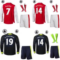 Wholesale 16 home the full set long sleeve soccer jersey with socks and league patches ALEXIS RAMSEY OZIL the full set football jersey with socks