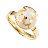 Cheap Fashion Jewelry Women's Rings Stainless Steel Based 18k Gold Plated Opals Gemstone With Little Bear Charm Wedding Ring