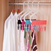 Wholesale Portable Folding Clothing Coat Hanger Travel Foldable Hanger With Clips H210610