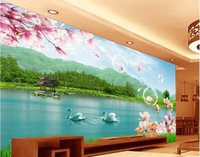asia lakes - 3d wallpaper custom photo non woven mural wall sticker Flowers lake scenery painting picture d wall room murals wallpaper