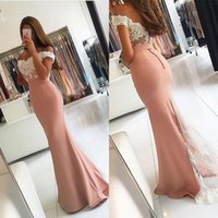 Wholesale Sexy Off Shoulder Backless Prom Dresses Popular Ivory Lace Blush Pink Stain Mermaid Party Gowns Custom Made China EN9246