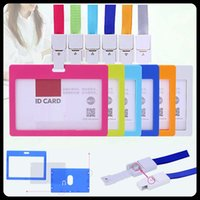 Wholesale 10 Business ID Badge Card Holder Horizontal Card Storage For company school office exhibition use with Lanyard