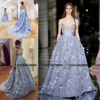 arts pearl powder - 2016 Zuhair Murad Powder Blue Corset Bodice Princess Prom Party Pageant Dresses Sweetheart Ball Gown Puffy Arabic Occasion Evening Gown