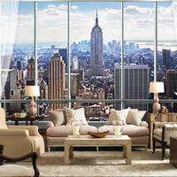 Wholesale Custom photo Silk D wallpaper for walls D for living room hotel office TV background wall covering NEW YORK mural wallpaper