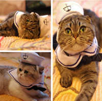 Wholesale Pet Cat Kitty Puppy Sailor Suit Adjustable Pet Costume Dress has adjustable Hook and loop fastener