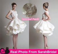 beach ball photos - Krikor Jabotian Flounce Skirt Knee Length Fashion Wedding Dresses Beach Bridal Gowns For Country Brides Cheap Vestidos De Novia