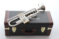 Wholesale ree Shipping New Bach Brass Trumpet LT180S GS Bb Silver Plated Trompeta Profissional Instrumentos Case Mouthpiece
