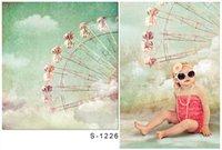 Wholesale P5x6 ft x200cm DZ Photography Backdrops Pale blue sky Ferris wheel white clouds sunny day Photography BackDrops S1226