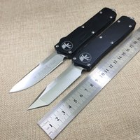 Wholesale high quality Microtech Scarab Knife blade D2 satin handle Aluminum CNC Automatic quot Black Outdoor tools gift