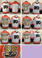 Wholesale 50th Anniversary Flyers Claude Giroux Shayne Gostisbehere Wayne Simmonds White Winter Classic Gold Throwback Hockey Jerseys