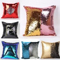 Wholesale 2 Tone Color Sequins Pillow Case Sofa Pearl Sequin Pillowslip Reversible Iridescent Glow Mesmerized Pillow Covers Home Decorative YC8085