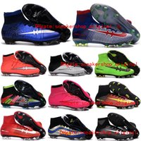 Wholesale Football Boots CR7 cristiano ronaldo Soccer Shoes Mercurial Superfly V FG What The Superfly Cleats Mercurial Soccer Cleats Original KId