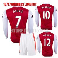 arsenal long sleeve - 16 Long Sleeve Kits Arsenal Soccer Jerseys Gunners Jersey Red OZIL WILSHERE RAMSEY ALEXIS GIROUD Welbeck Full Football Sets Suit