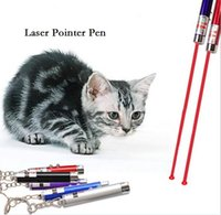 Wholesale Laser funny cat stick New Cool In1 Red Laser Pointer Pen With White LED Light Childrens Play Cat Toy