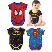 Sportswear France-2016 Summer Cheap bébé manches courtes d'été sans manches Spider-Man bébés rampent <b>Sportswear</b> Boy Vêtements Taille 0 à 18 m de nouveaux produits