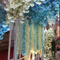 artificial ceiling - 60pcs Simulation wisteria long string bean flower decorative flower vine wedding silk flower vine rattan ceiling arches