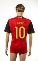 # 10 E.Hazard Inicio Fútbol Jersey Bélgica Eurocopa 2016 de fútbol Jersey Rojo baratos camisetas de fútbol para los hombres la calidad de Tailandia de fútbol Wears Venta