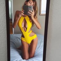 Wholesale Lowest Price Fashion Women Sexy SWIMSUIT Woman One piece Swimsuit Hollow out Bikini Swimwear Womens Bandage Bikini Swimsuits