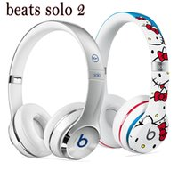 Wholesale Refurbished hello kitty Beats Solo2 Headphone Active Collection HD fragment special Stereo Wired Mobile Cellphone Solo Earphone Headset
