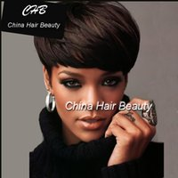 Wholesale Rihanna Glueless Full Lace Short Human Hair Wigs Brazilian Hair Wigs for Black Women